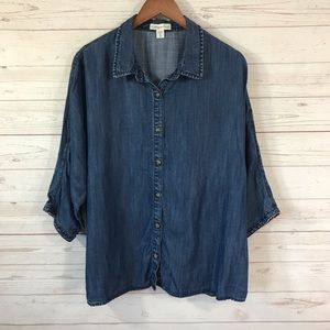 Coldwater Creek Chambray Button Front Shirt 1X/18